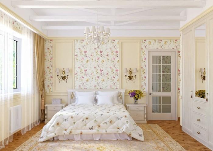 chambre-vintage-idée-chambre-vintage-jolie-idée-papier-peint-chambre-adulte-appliques-vintage-armoire-déco-chambre-adulte-ze-fleurs-tapis-somptueux
