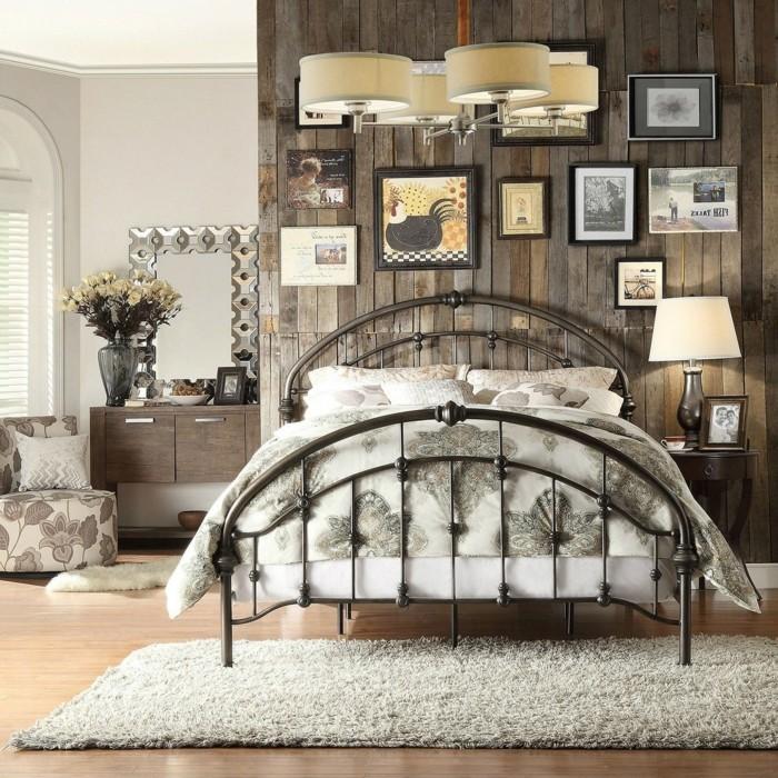 chambre-vintage-idée-déco-chambre-vintage-belle-déco-vintage-murale-lit-fer-forgé-décor en bois