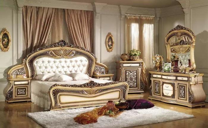 chambre-vintage-idée-déco-vintage-lit-baroque-coiffeuse-majestueuse