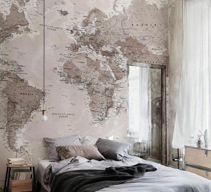 chambre-vintage-idée-papier-peint-chambre-adulte-modèle-chambre-adulte- papier-peint-carte-du-monde-style-vintage-industriel