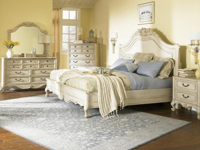 chambre-vintage-idée-peinture-chambre-adulte-lit-et-meubles-en-blanc-joli-tapis-bleu