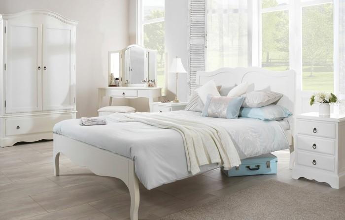 chambre-vintage-scandinave-meubles-blancs-en-bois-style-vintage-simple, raffiné-modèle-chambre-adulte-vintage