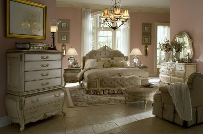 chambre-vintage-déco-chambre-vintage-murs-en-rose-lustre-somptueux-large-lit-princesse-meubles-vintage