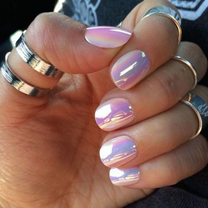 déco,nail,art,ongles,holographique,lilas