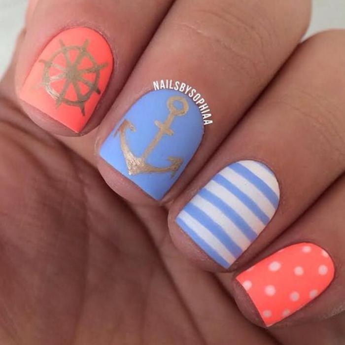 Дизайн ногтей на морскую тему