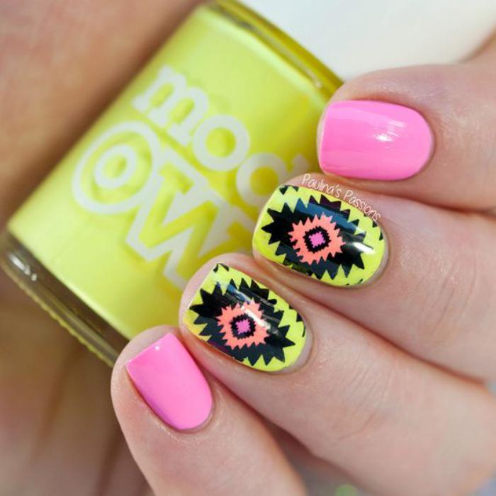 déco-ongles-avec-motifs-aztèques-vernis-jaune-et-rose