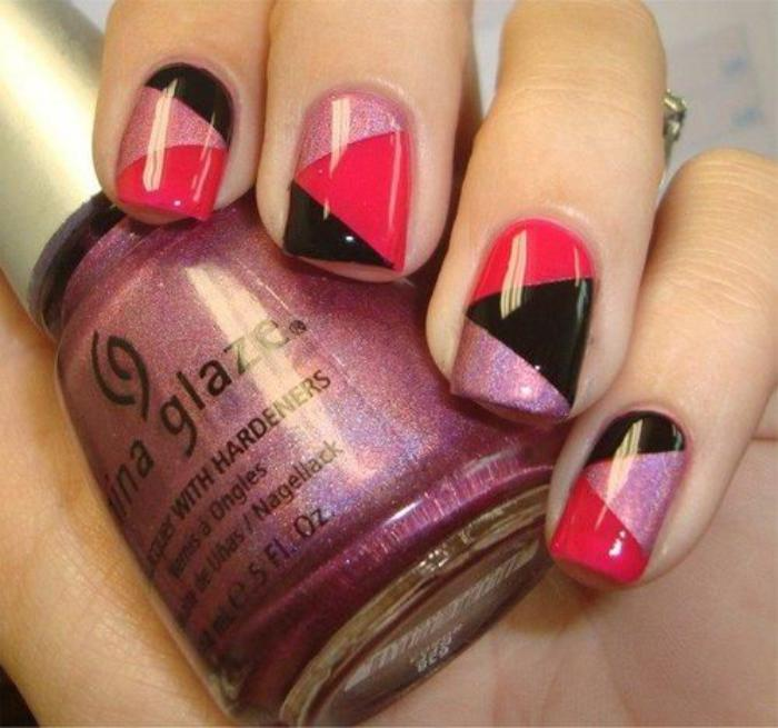 déco-ongles-en-trois-couleurs-design-nail-art-facile