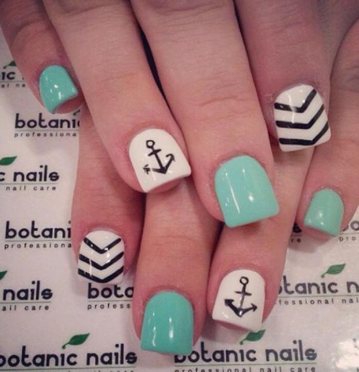 déco-ongles-nail-art-chevron-sur-ongles-verts-et-blancs