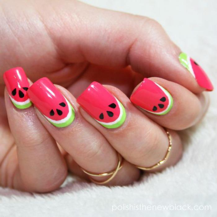 déco-ongles-nail-art-melon-d'eau-original