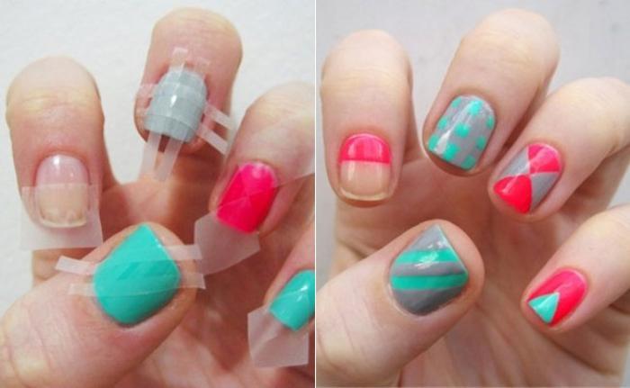 déco-ongles-ongles-en-couleurs-différentes