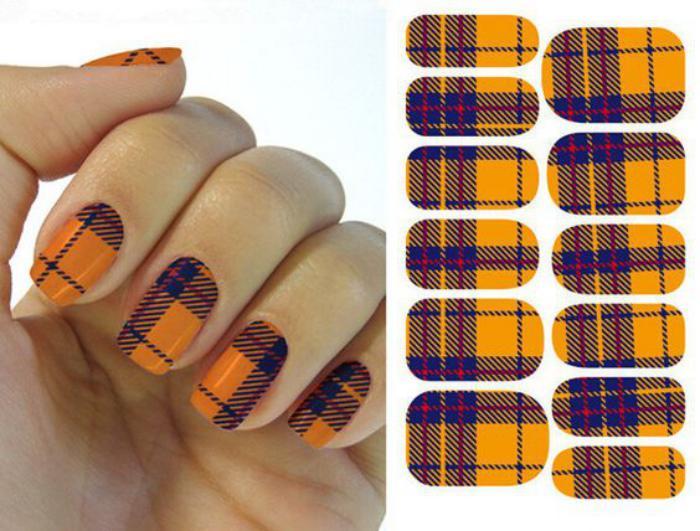 déco-ongles-originale-plaid-géométrique-nail-art-facile