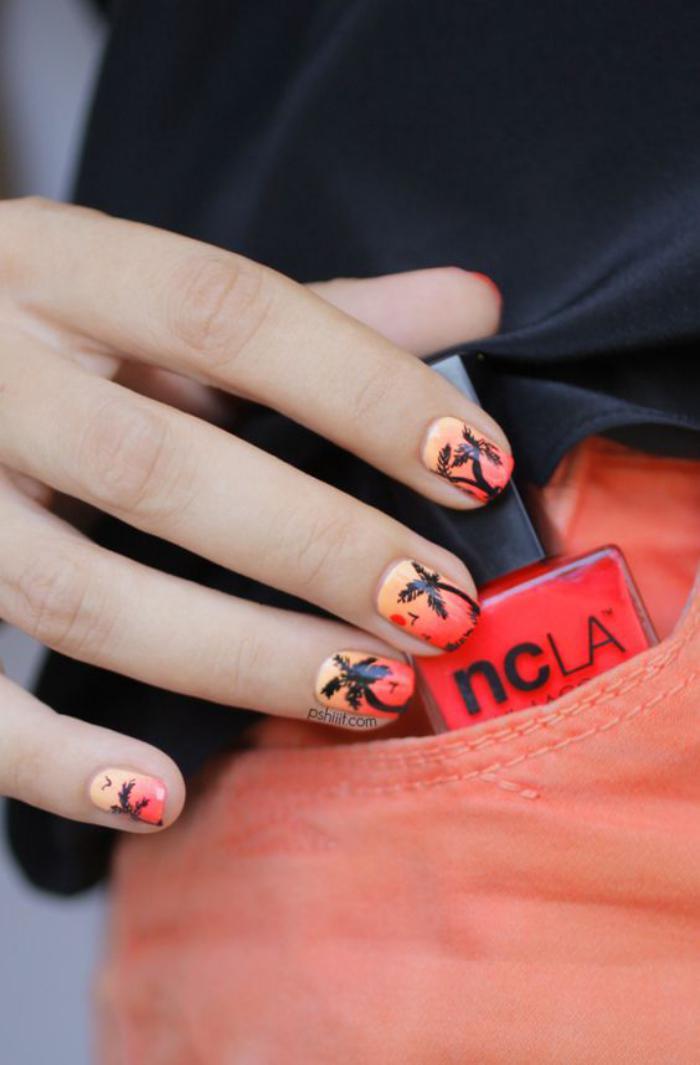 déco-ongles-sunset-palmiers-nail-art-dégradé