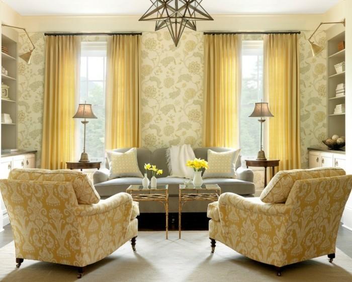 décorer-un-petit-salon-idée-fantastique-joli-papier-peint-à-motifs-floraux-suspension-design-original-sofa-gris-canapés-vintage-deux petites-tables
