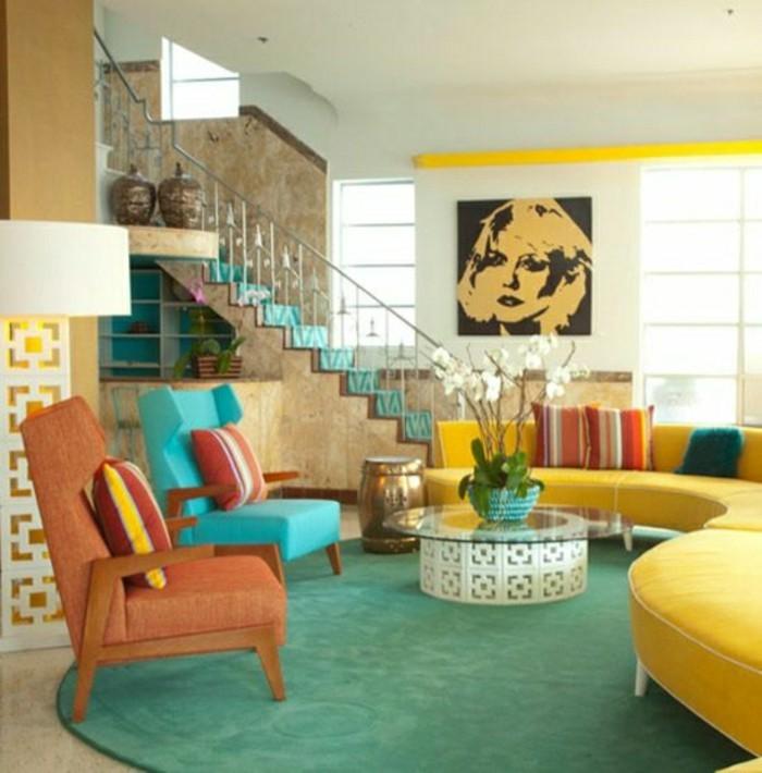 deco-boheme-chic-canape-jaune-fauteuil-bleu-clair-et-fauteuil-orange-resized