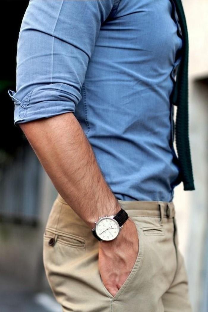 elégante-chemise-cintrée-homme-tendances-montre
