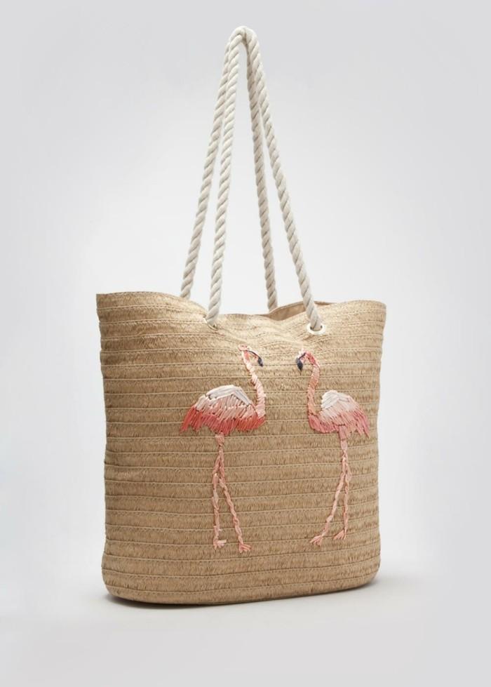 flamingo-print-formidable-sac-de-plage-osier-sac-panier
