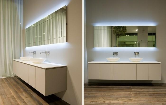 glace-salle-de-bain-sol-en-parquet-foncé-en-bois-naturel-meubles-beiges-miroire-avec-led