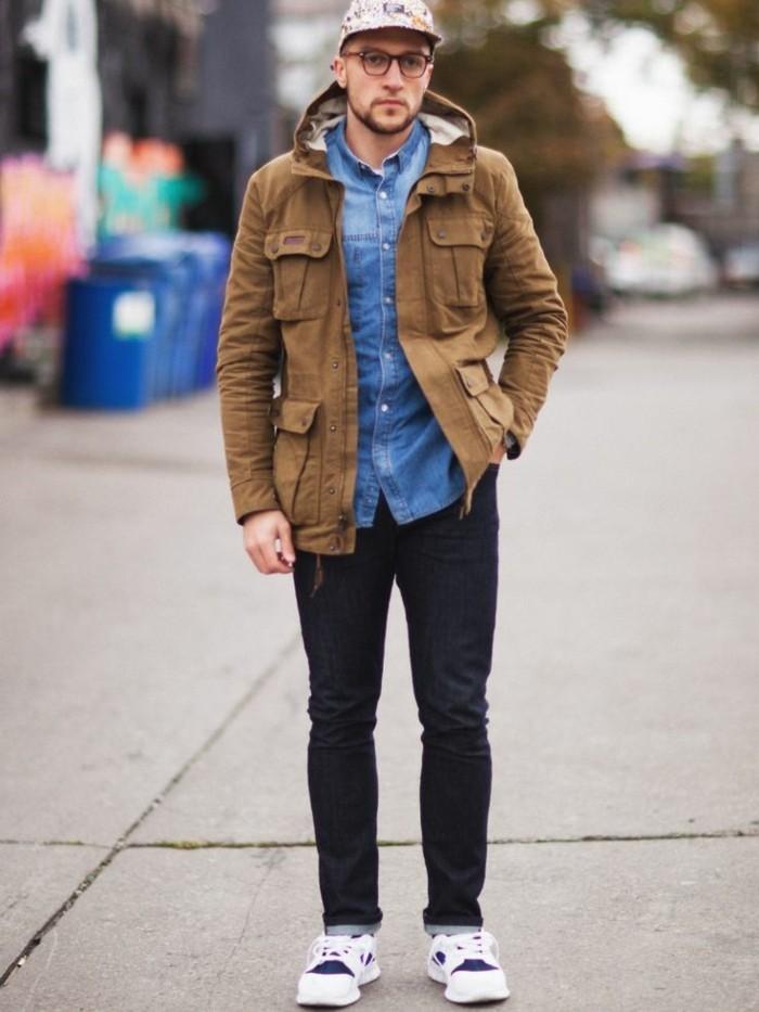 idée-comment-porter-chemise-jeans-homme-avec-veste