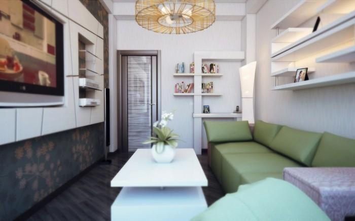 idée-déco-petit-salon-comment-meubler-un-salon-jolie-suspension-étagères-murales-techniques-gain-de-place-sofa-vert-commode-petite-table-blanche