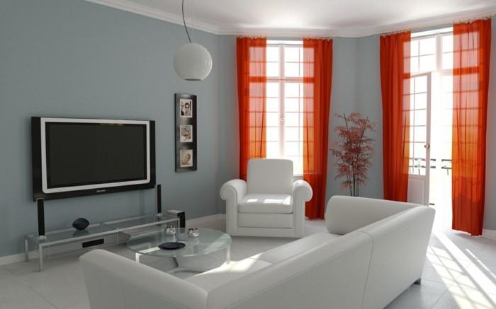 idée-déco-petit-salon-en-blanc-rideaux-orange-légers-syle-simple-raffiné