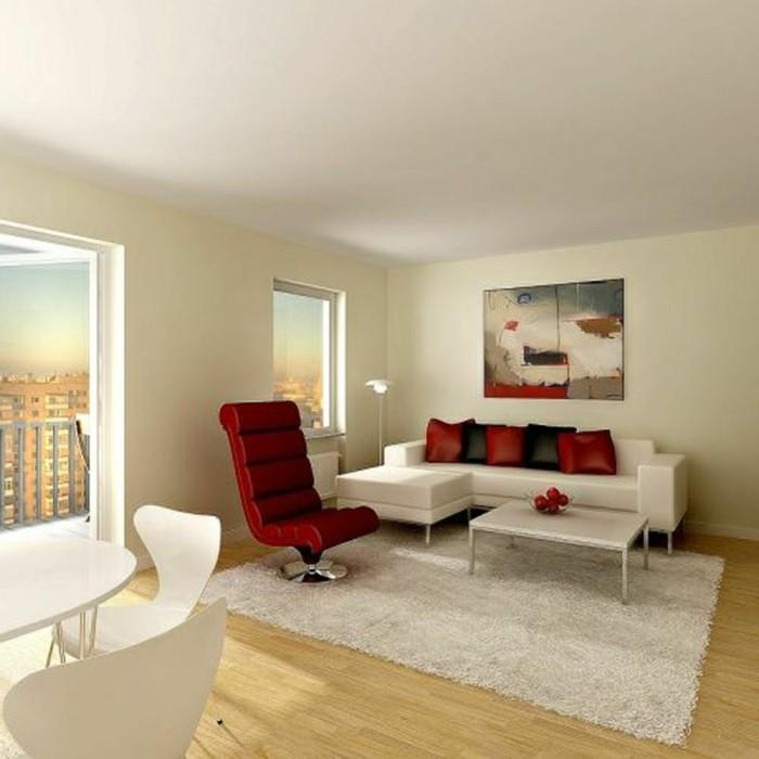 idée-déco-petit-salon-moderne-design-simple-canapé-table-basse-blancs, fauteuil-rouge-un-tableau-d'art-moderne