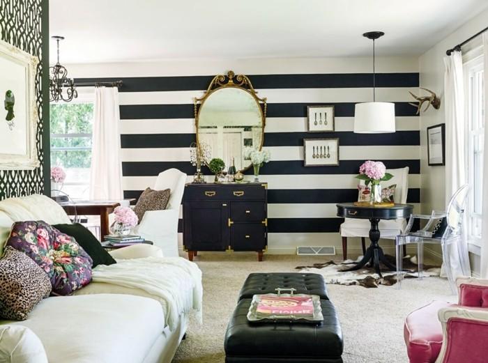 idée-déco-petit-salon-mur-rayé-coiffeuse-vintage-sofa-blanc-fauteuil-rouge-guéridon-noir-salon-style-vintage