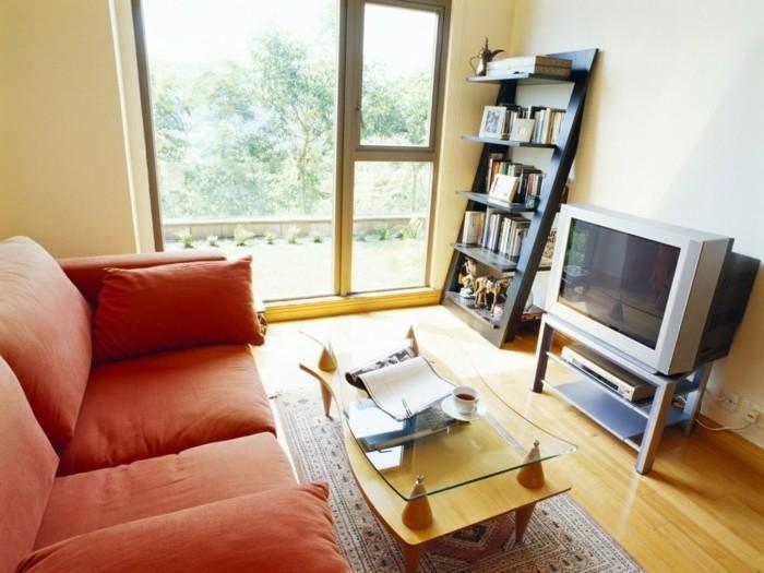 idée-déco-petit-salon-sofa-rouge-petite-table-basse-petite-bibliothèque-mignonne