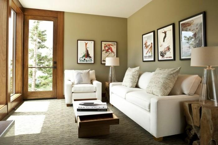 idée-déco-petit-salon-style-épuré-simple-fauteuil-canapé-blancs-jolie-déco-murale-petite-table-multifonctions