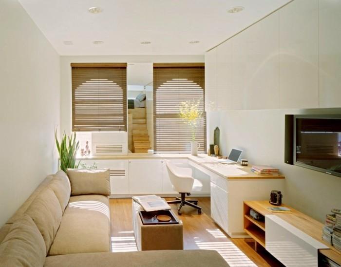idée-déco-petit-salon-très-moderne-décor-en-blanc-meubles-en-bois-coin-repos-coin-travaill