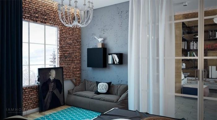 idée-déco-petit-salon-très-originale-salon-style-industriel-lustre-original-canapé-gris-joli-tableau