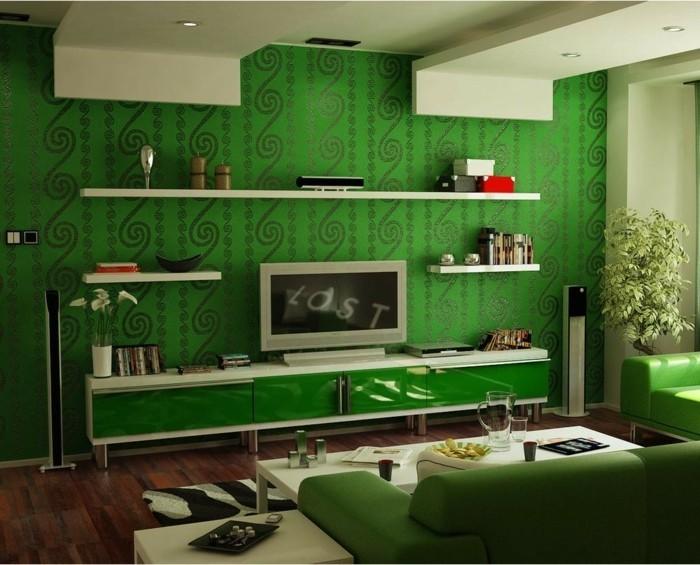 idée-déco-petit-salon-idée-comment-meubler-son-salon-canapé-et-papier-peint-verts-étagères-murales-petite-table-blanche