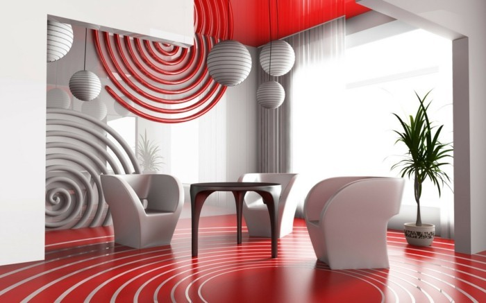 idées-déco-petit-salon-en-rouge-et-blanc-meubles-design-intéressant-original-suspensions-forme-sphérique