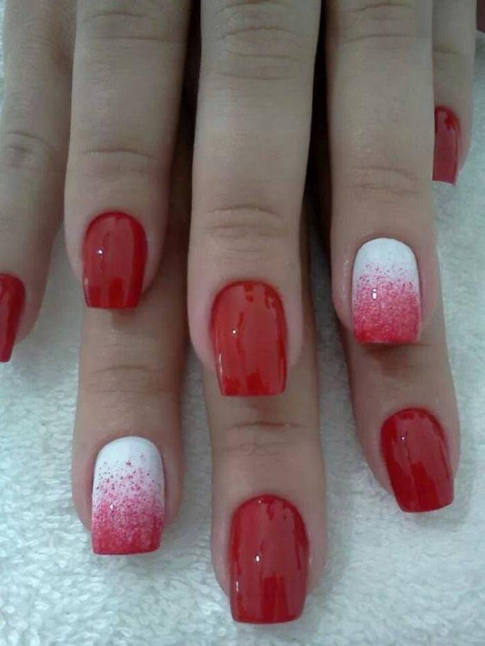 manucure-ombré-en-rouge-et-blanc-vernis-dégradé-sur-les-ongles