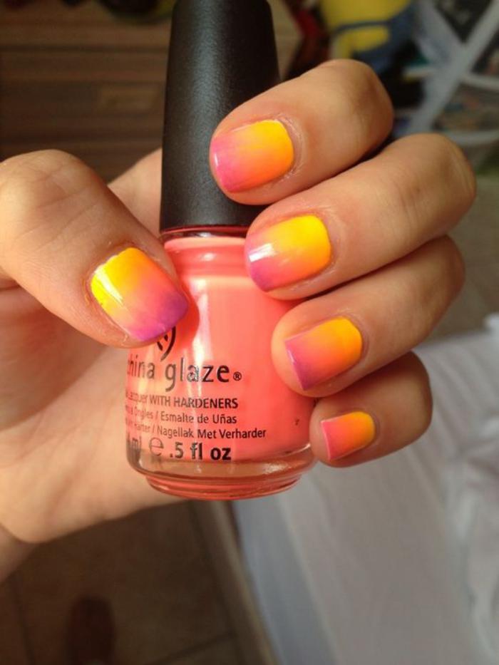 manucure-ombré-nail-art-dégradé-en-jaune-et-rose