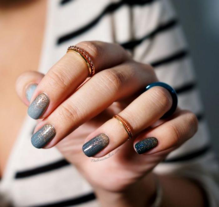 manucure-ombré-nail-art-ombré-gris-et-pailleté