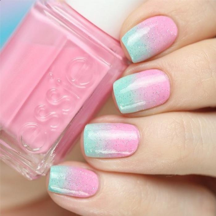 manucure-ombré-ombré-nail-art-menthe-rose