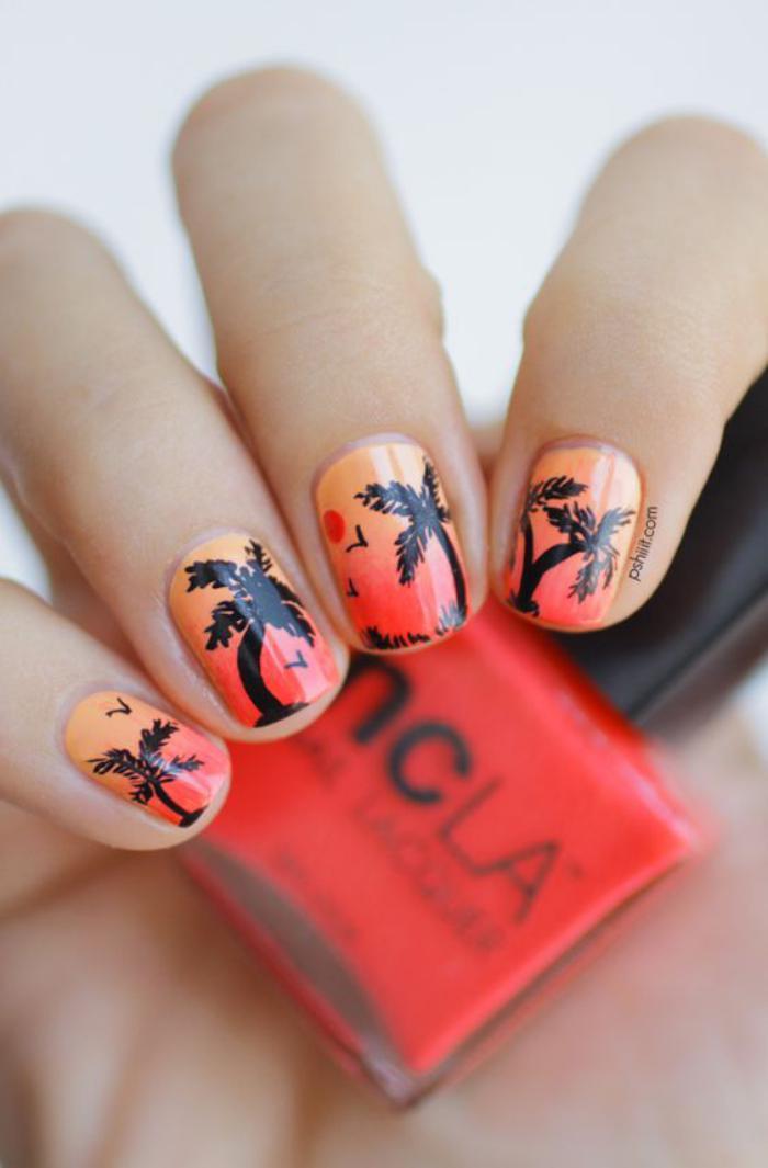 manucure-ombré-ongles-dégradés-avec-stickers-palmiers