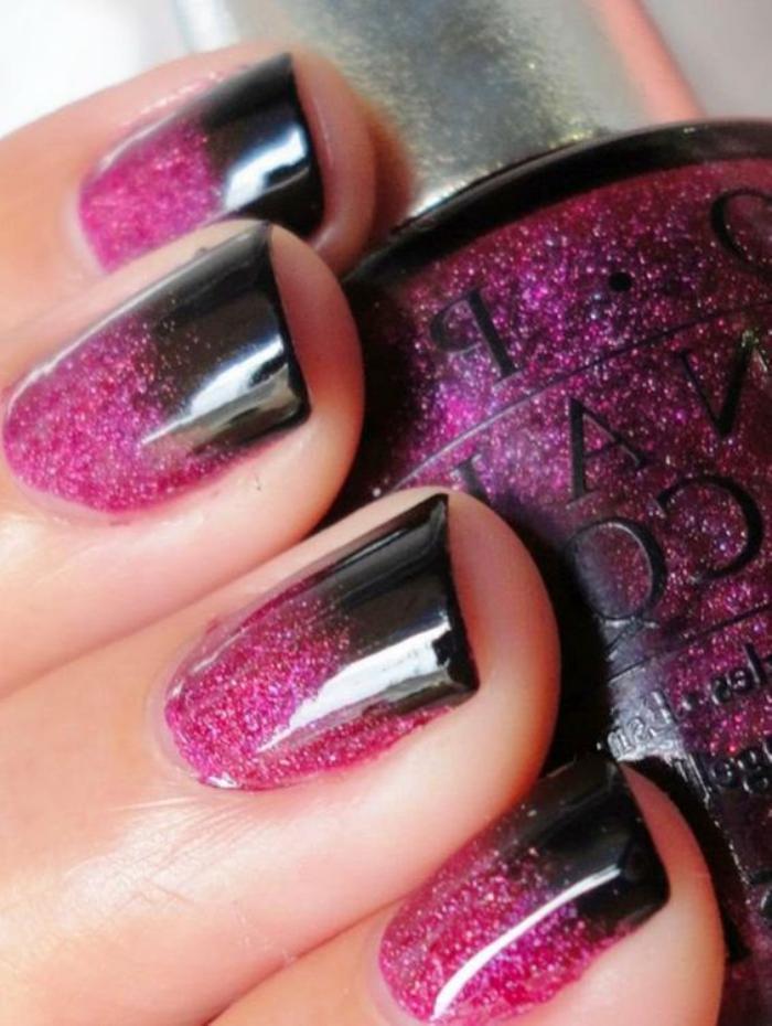 manucure-ombré-rose-et-noir-paillettes