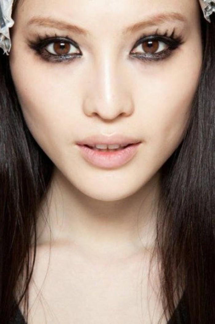 maqillage-yeux-bridés-levres-roses-visage-pale-maquillage-yeux-asiatiques