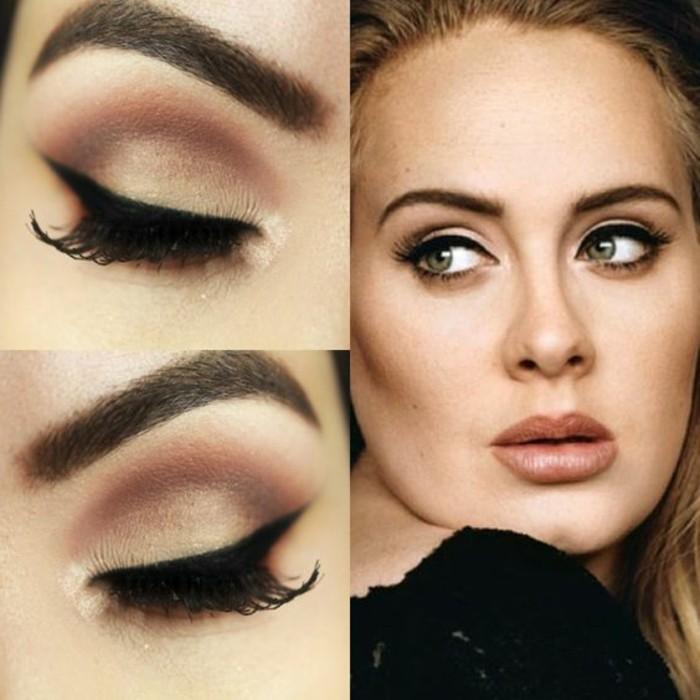 maquillage-adel-cheveux-blonds-yeux-verts-visage-maquillage-année-60