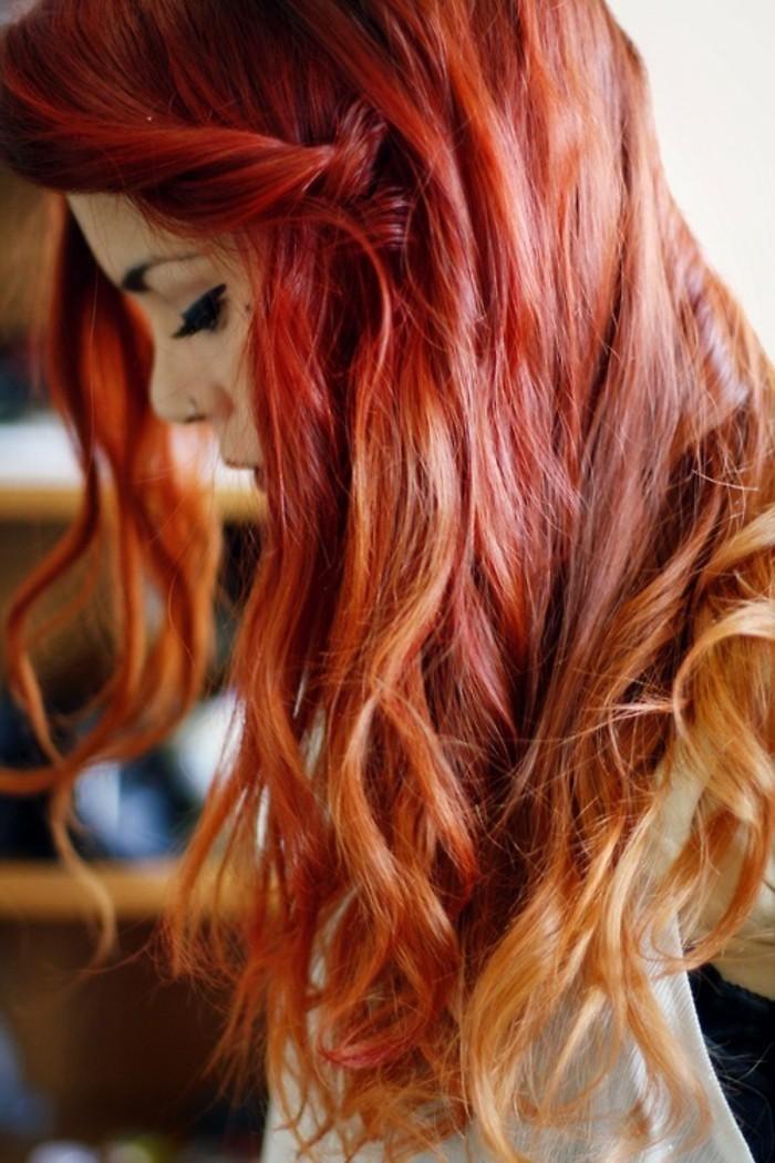 Coloration cheveux rouge sur cheveux blond