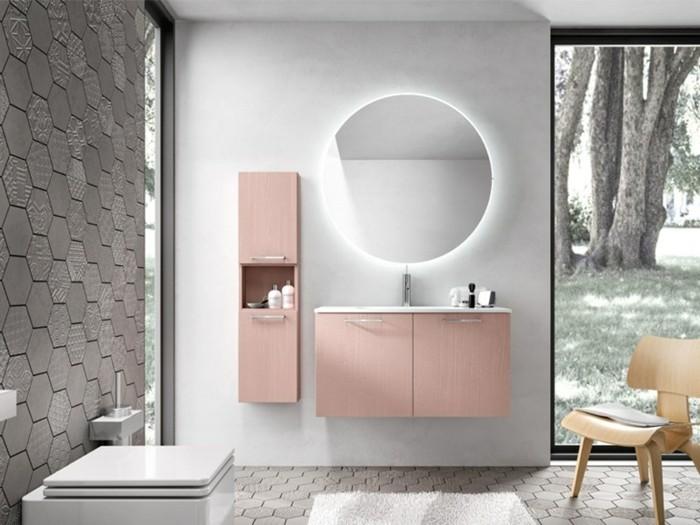 miroir-éclairant-salle-de-bain-forme-ronde-meubles-salle-de-bain-en-rose-pastel