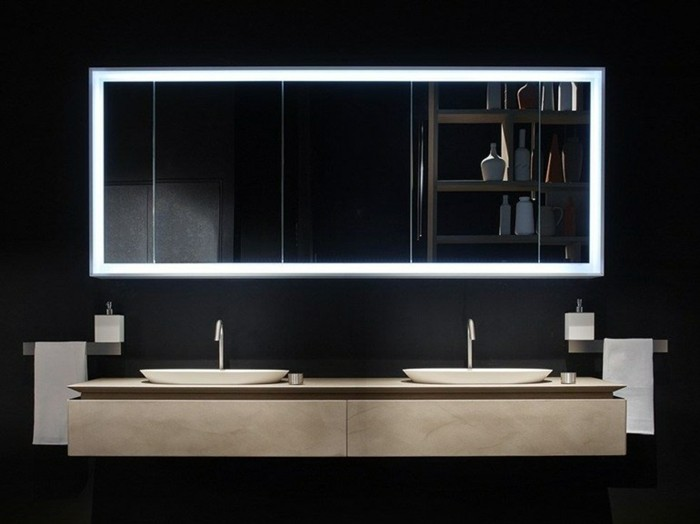 Miroir salle de bain avec eclairage led salle de bains - Miroir salle de bains leroy merlin ...