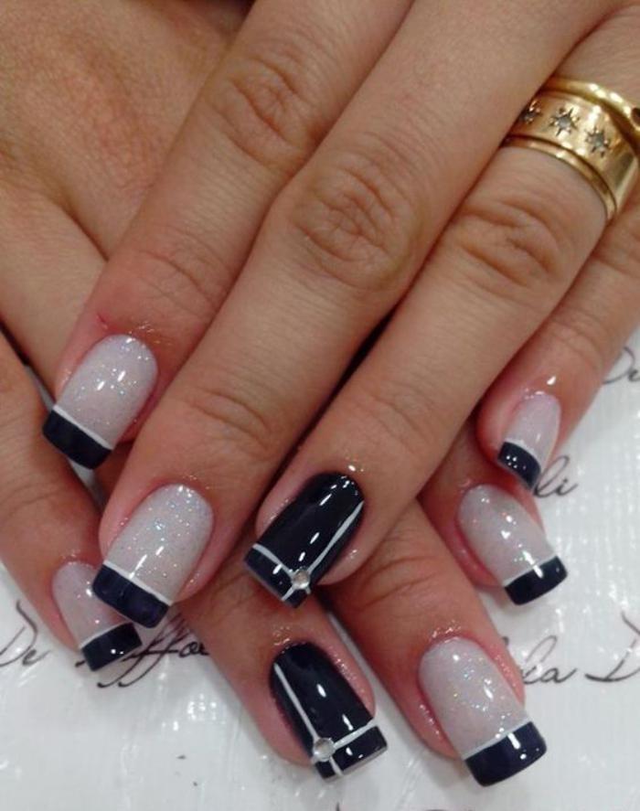 modèle-ongles-french-manucure-stylée-en-noir-et-blanc