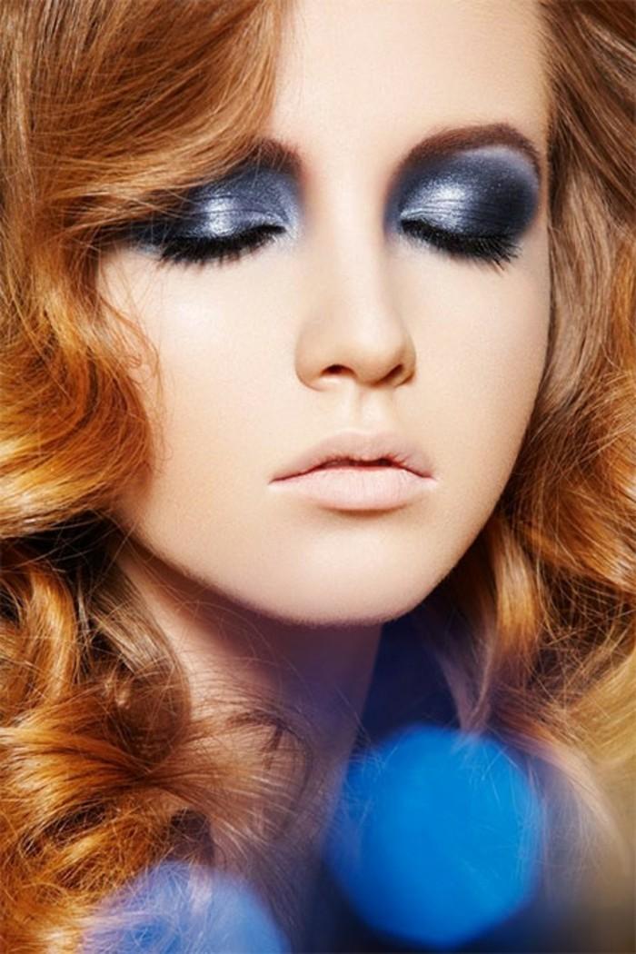 modele-de-maquillage-pour-soirée-tuto-maquillage-noel-bleu-jolie