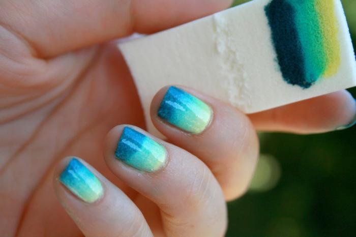 nail-art-facile-dégradé-avec-éponge