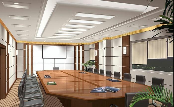 office-space-plafonnier-neon-grande-table-de-conferance-idee-amenagement-office-space