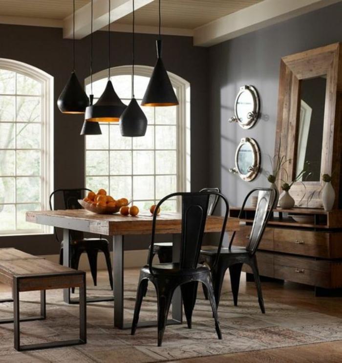 salle-à-manger-style-industriel-table-bois-et-métal