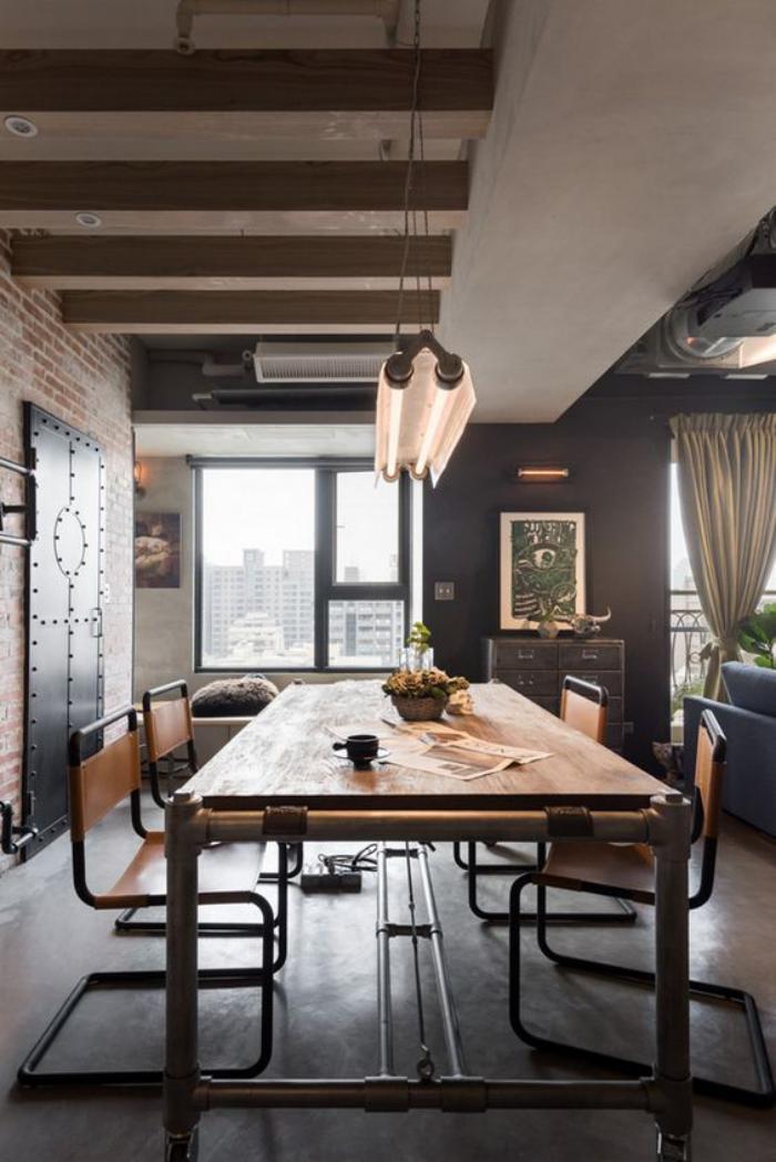salle-à-manger-style-industriel-grande-table-industrielle-bois-et-métal