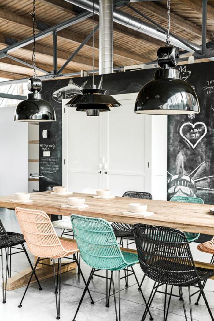 salle-à-manger-style-industriel-meubles-style-industriel-plafond-poutres-en-bois